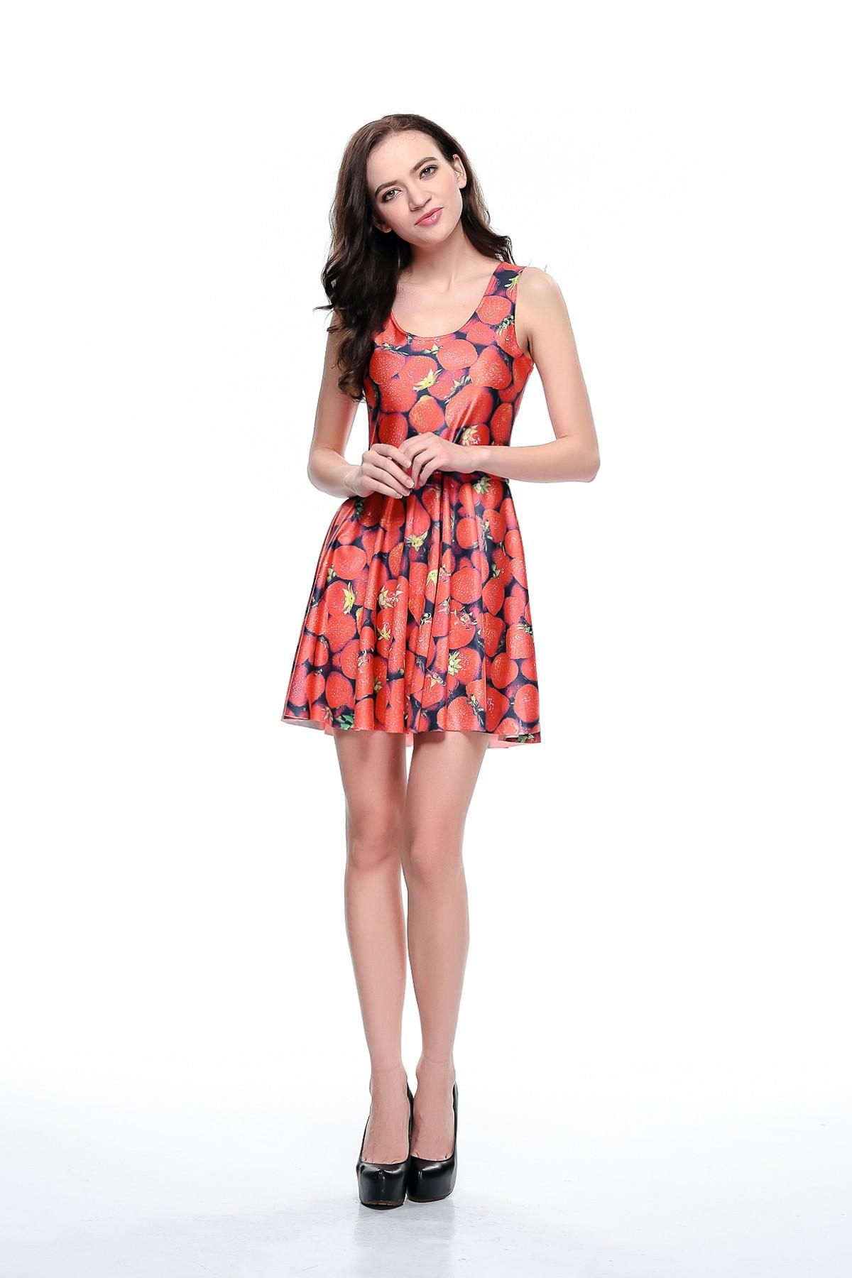 Strawberry Print Mini Pleated Dress